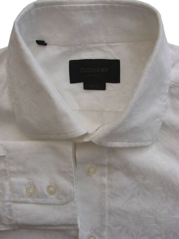 DUCHAMP LONDON Shirt Mens 16.5 L White Flowers & Leaves SLIM FIT