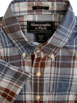 ABERCROMBIE & FITCH Shirt Mens 16 S Check MUSCLE LIGHTWEIGHT SHORT SLEEVE