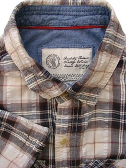 FAT FACE Shirt Mens 15 S Brown & White Check TEXTURED SHORT SLEEVE