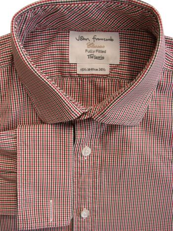 JOHN FRANCOMB TM LEWIN Shirt Mens 15 M White Red & Green Check FULLY FITTED NEW