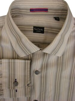 PAUL SMITH Shirt Mens 15 S Grey Cream & Brown Stripes