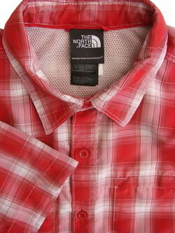 THE NORTH FACE Shirt Mens 16 S Red & White Check SHORT SLEEVE