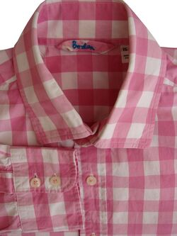 BODEN Shirt Mens 15 M Pink & White Check