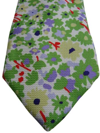 ALTEA Mens Tie White - Green Red Yellow & Purple Flowers ULTRA SKINNY NEW BNWT
