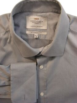 HAWES & CURTIS Shirt Mens 16.5 L Light Grey ST JAMES SLIM FIT