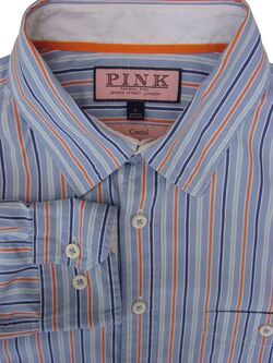 THOMAS PINK CASUAL Shirt Mens 15.5 M Blue - Turquoise Blue & Orange Stripes