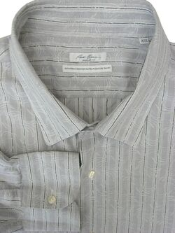 ROBERT FRIEDMAN Shirt Mens 18.5 XXXL Grey - Textured White Design REGULAR FIT