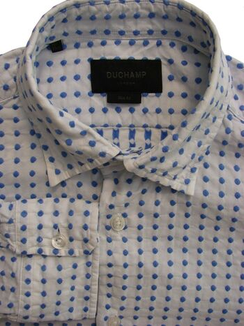 DUCHAMP LONDON Shirt Mens 15 S White - Blue Polka Dots SLIM FIT