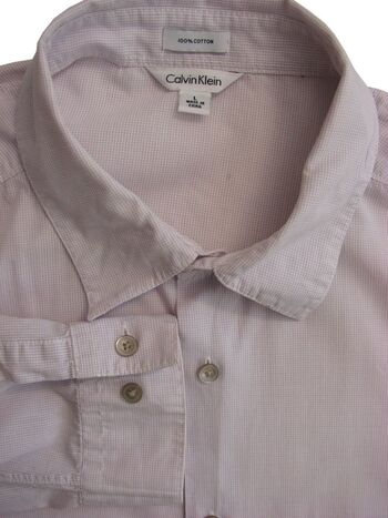 CALVIN KLEIN Shirt Mens 17 L Purple & White Mini Check LIGHTWEIGHT