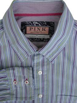 ea5ba1719e THOMAS PINK Shirt Mens 16 M Blue - Purple Green & White Stripes
