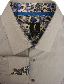 1 LIKE NO OTHER Shirt Mens 17.5 XL White - Blue Stripes - Flowers SLIM FIT
