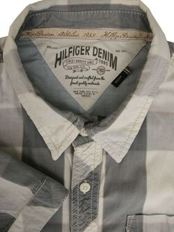 HILFIGER DENIM Shirt Mens 15.5 M Grey White Yellow & Pink Check SHORT SLEEVE