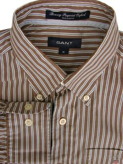 GANT Shirt Mens 15 M Brown - Stripes BOWERY PINPOINT OXFORD REGULAR NEW