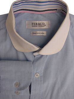 FERAUD Shirt Mens 14.5 S Blue - White Collar