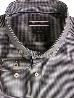 TOMMY HILFIGER TAILORED Shirt Mens 15.5 M Dark Blue & White Check SLIM FIT