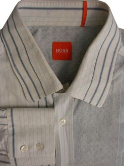 HUGO BOSS Shirt Mens 17 L White & Blue Stripes Multi Design