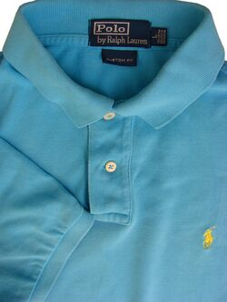 RALPH LAUREN POLO T-Shirt Mens L Blue CUSTOM FIT SHORT SLEEVE