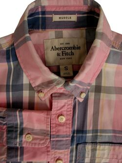 ABERCROMBIE & FITCH Shirt Mens 15 S Pink - Multi-Coloured Check MUSCLE