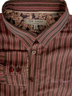 TED BAKER Shirt Mens 14.5 S Boys AGE 16 Brown - Pink Stripes