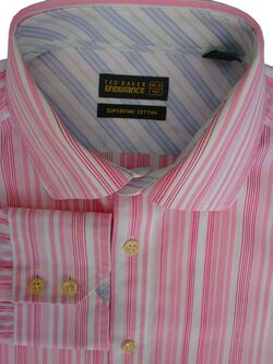 TED BAKER ENDURANCE Shirt Mens 16 M Pink & White Stripes