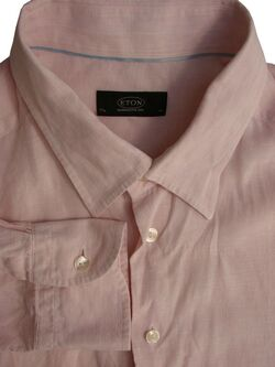ETON CONTEMPORARY 1928 Shirt Mens 17 L Pink - White Stripes LINEN