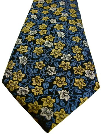 HAWES & CURTIS Mens Tie Blue Gold & White Flowers