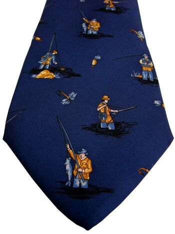TM LEWIN Mens Tie Blue - Fishing Fisherman