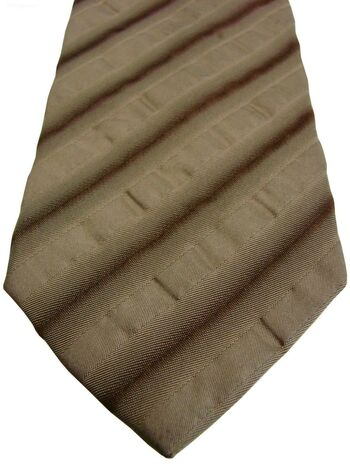 HUGO BOSS Mens Tie Brown - Textured Stripes