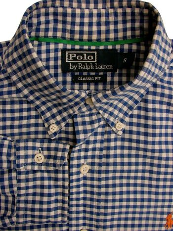 RALPH LAUREN POLO Shirt Mens 15 S Blue & White Gingham Check CLASSIC FIT