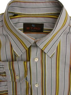 ETRO Shirt Mens 16.5 L Light Grey - Multi-Coloured Textured Stripes