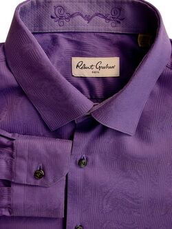 ROBERT GRAHAM Shirt Mens 17 L Purple - Paisley