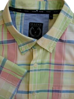 MAINE NEW ENGLAND FIVE G Shirt Mens 17 L Multi-Coloured Check SHORT SLEEVE