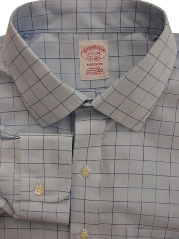 BROOKS BROTHERS MADISON Shirt Mens 17.5 XL Light Blue - Check NON IRON NEW