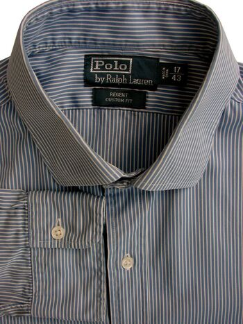 RALPH LAUREN POLO Shirt Mens 17 L Blue - White Stripes REGENT CUSTOM FIT
