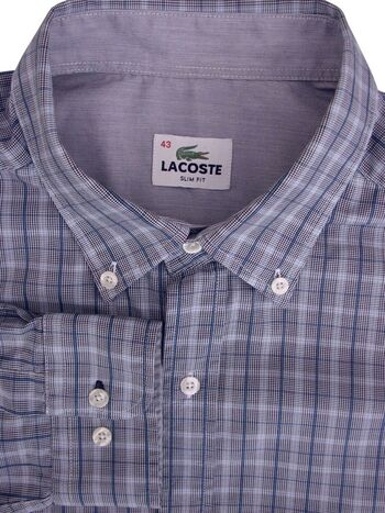 LACOSTE Shirt Mens 16.5 L Blue Check & Black & White Houndstooth SLIM FIT NEW