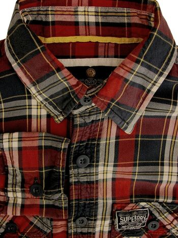 SUPERDRY Shirt Mens 14.5 M Red Blue & Green Check ROLL SLEEVE