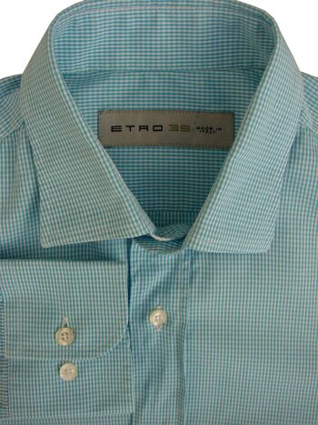 ETRO Shirt Mens 15 S Blue & White Check NEW