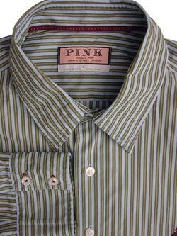 THOMAS PINK Shirt Mens 17 L Light Blue & Green Stripes