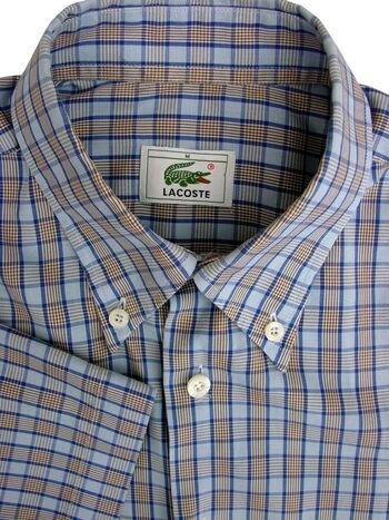 LACOSTE Shirt Mens 15 M Blue & Brown Check SHORT SLEEVE