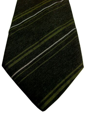 PAL ZILERI Mens Tie Dark Brown - Green & White Stripes