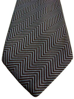 MULBERRY Mens Tie Light Blue & Brown Zig Zag