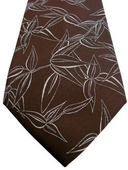 JOHN FRANCOMB TM LEWIN Mens Tie Brown - White Flowers