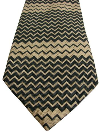 DUCHAMP LONDON Mens Tie Black & Cream Zig Zags