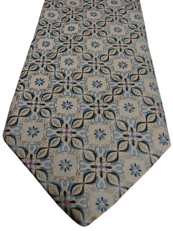 ROBERT TALBOTT BEST OF CLASS Mens Tie Silver - Blue Flowers