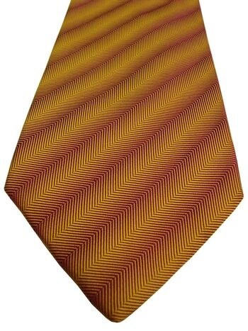 RICHARD JAMES Mens Tie Yellow & Red Herringbone Stripes