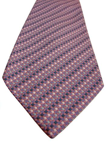 TURNBULL & ASSER Mens Tie Pink White & Green Squares