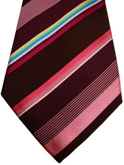 PAUL SMITH Mens Tie Brown - Multi-Coloured Stripes NEW