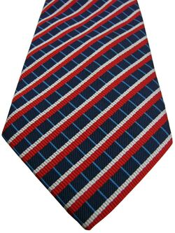 TURNBULL & ASSER Mens Tie Red White & Blue Check TEXTURED