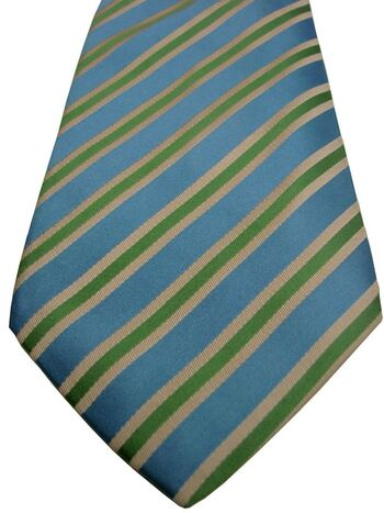 PAUL SMITH Mens Tie Blue - Green & Cream Stripes