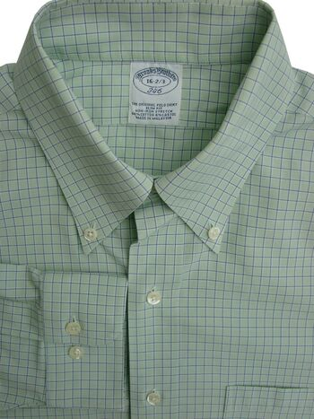 BROOKS BROTHERS 346 Shirt Mens 16 M Green - Gingham Check SLIM NON IRON STRETCH
